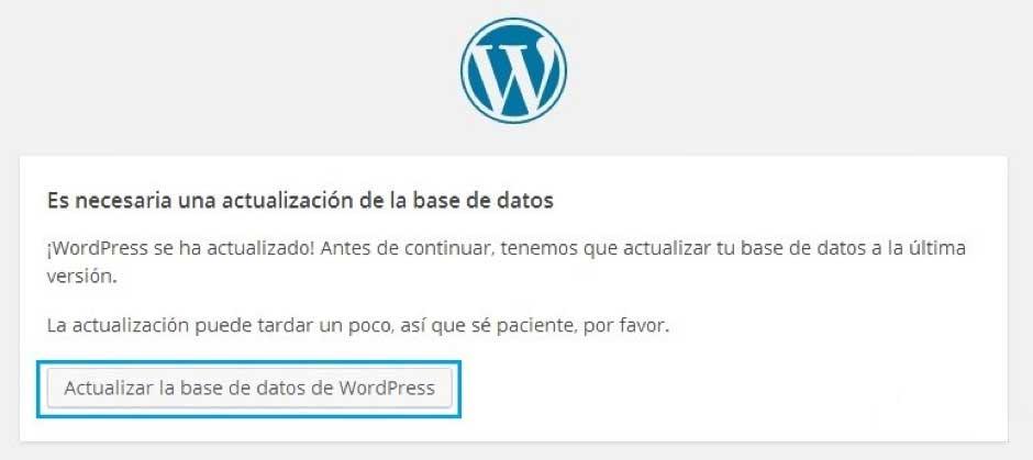 como actualizar wordpress actualizar base datos